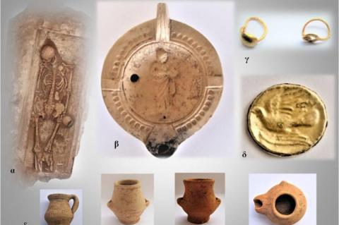 Εικ.1 :Ευρήματα από ταφές ελληνιστικών και ρωμαϊκών χρόνων.