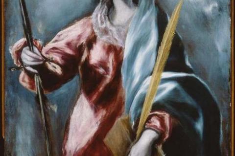 Η Αγία Αικατερίνη έργο του Δομήνικου Θεοτοκόπουλου (1610-14). Παριστάνεται κρατώντας στο αριστερό χέρι ιερό κλάδο φοίνικα που ακουμπά σε τμήμα του ακιδοφόρου τροχού με τον οποίο βασανίστηκε, ενώ στο δεξί χέρι κρατά το σπαθί με το οποίο τελικά αποκεφαλίστηκε.