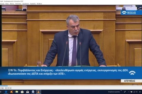 Ομιλία Ανδρέα Πουλά, βουλευτή Ν. Αργολίδας στη Βουλή, στο Νομοσχέδιο για την Ενέργεια