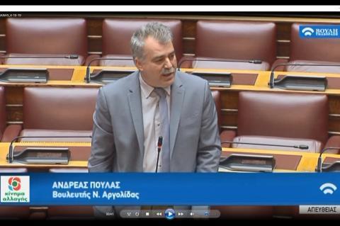 Συζήτηση στη Βουλή της ερώτησης του Ανδρέα Πουλά για αντιμετώπιση του ιού του Δυτικού Νείλου